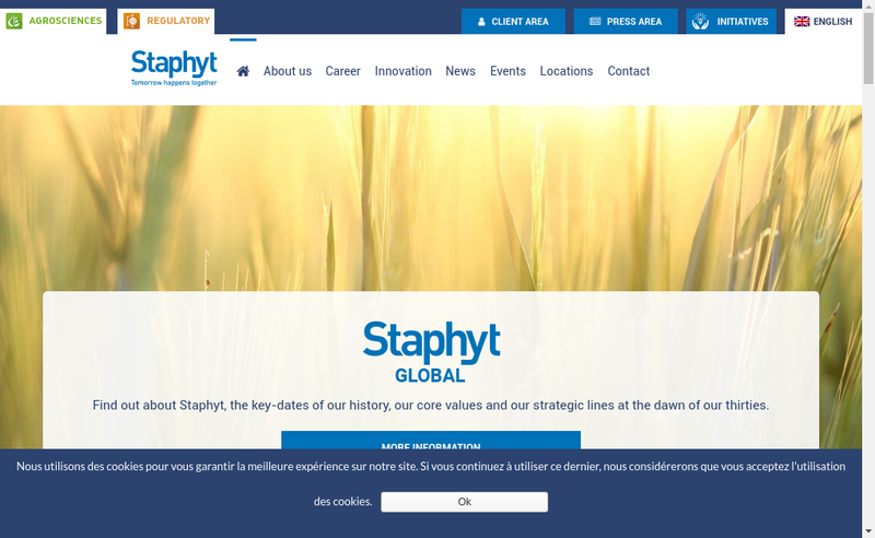 Capture d'écran du site de Staphyt Regulatory