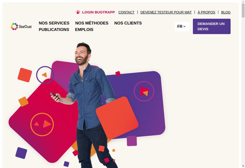 Capture d'écran du site de StarDust, The Digital Testing Company