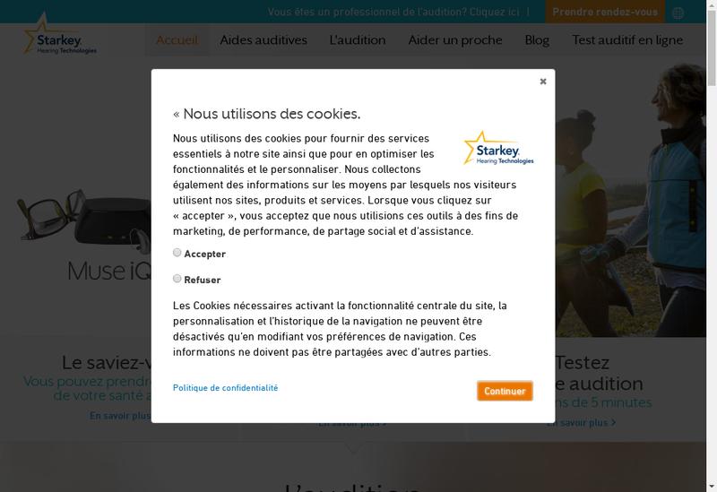 Capture d'écran du site de Starkey France