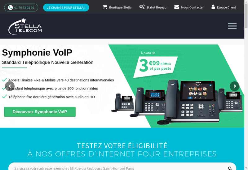 Capture d'écran du site de Stella Telecom