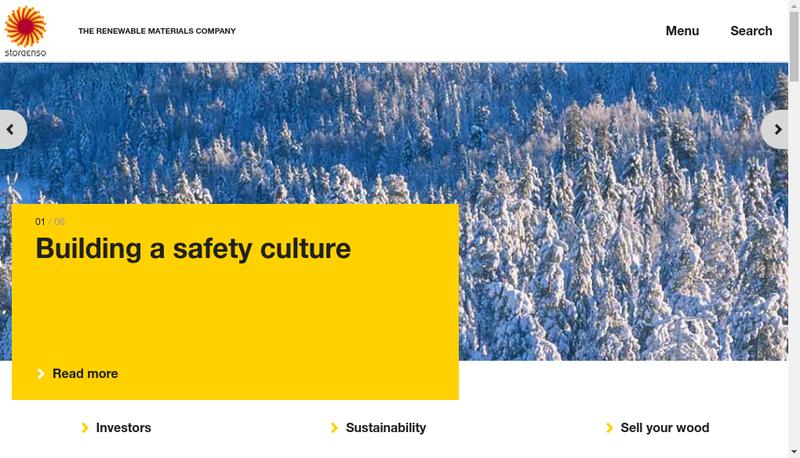 Capture d'écran du site de Stora Enso France