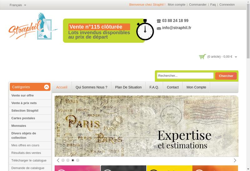 Capture d'écran du site de Straphil Philatelie