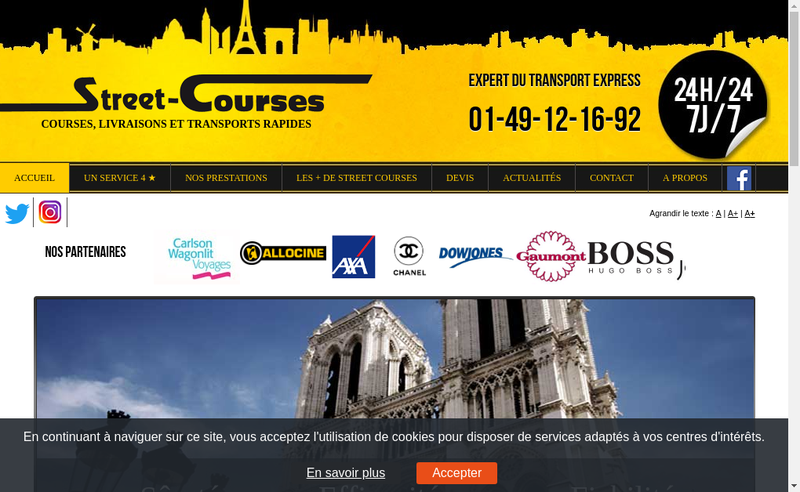 Capture d'écran du site de Street Courses