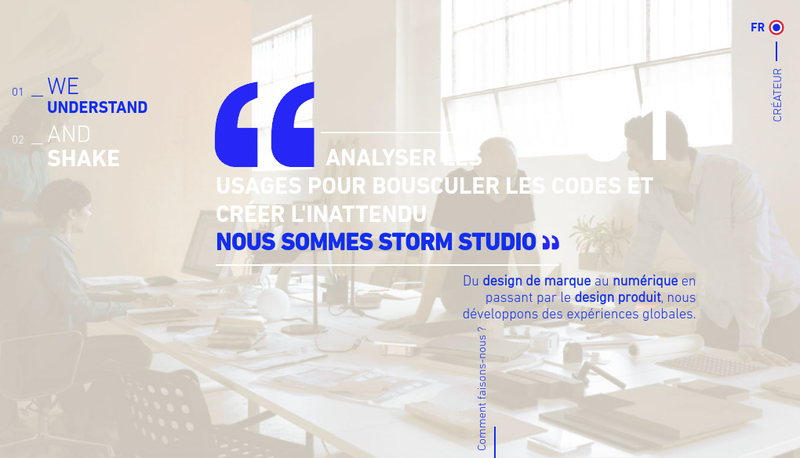 Capture d'écran du site de Storm Studio
