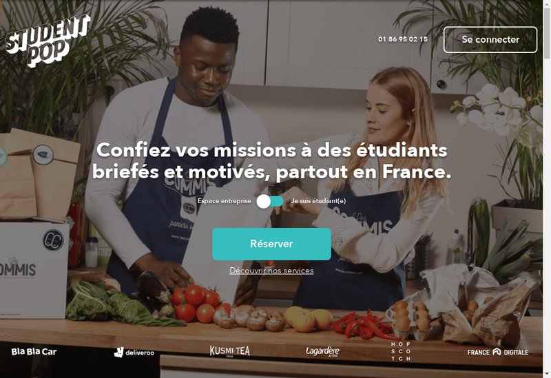 Capture d'écran du site de Student Pop