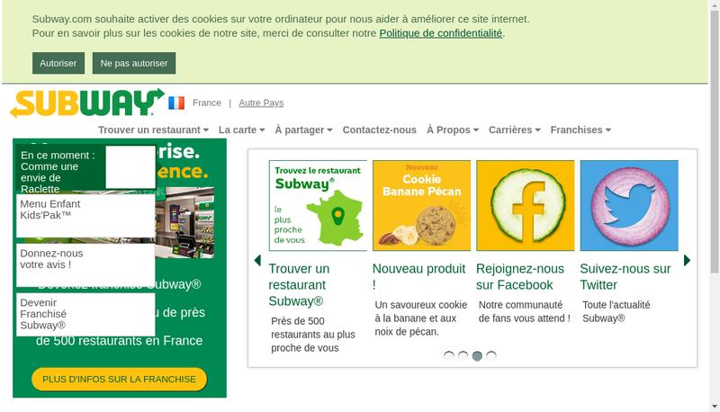 Capture d'écran du site de Subway