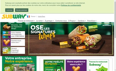 Site internet de Subway