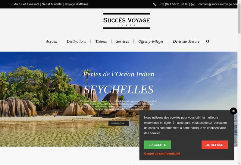 Capture d'écran du site de Succes Voyages