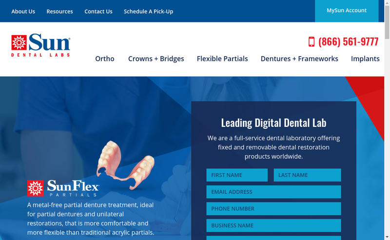Capture d'écran du site de Sun Dental Labs France