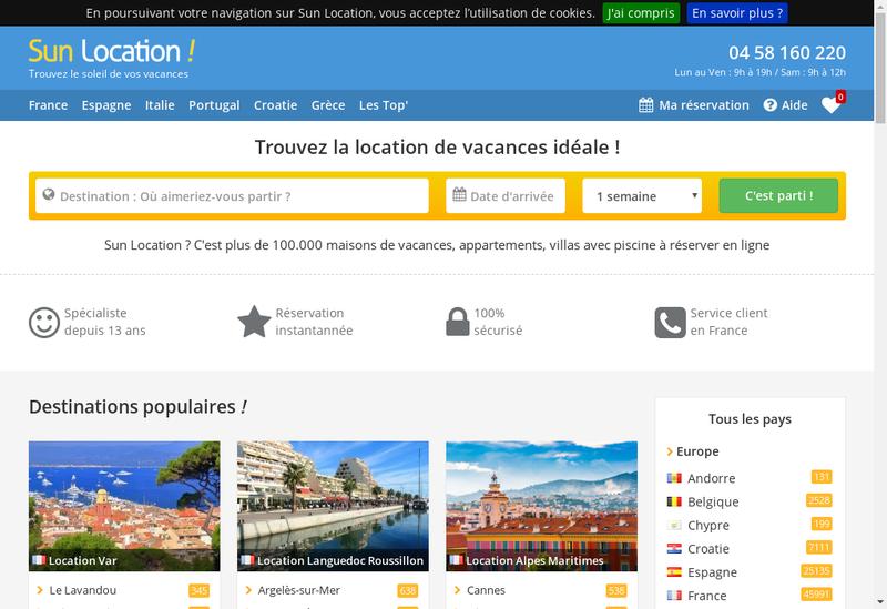 Capture d'écran du site de Sun Location