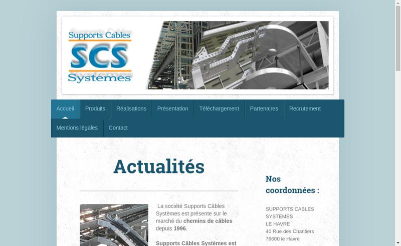 Capture d'écran du site de SAS Supports Cables Systemes