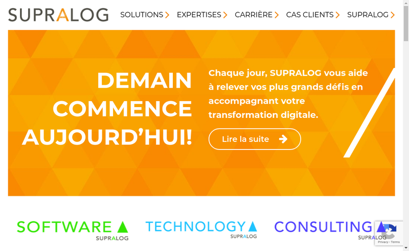 Capture d'écran du site de Supralog