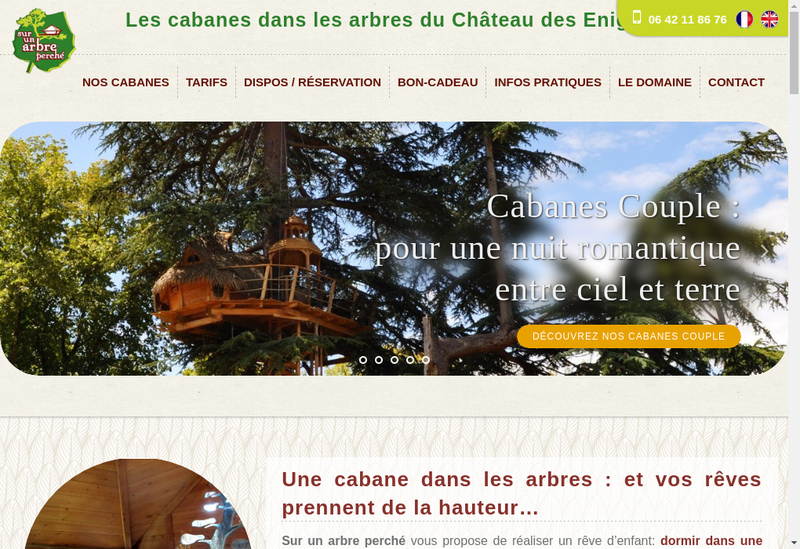 Capture d'écran du site de Sur Un Arbre Perche
