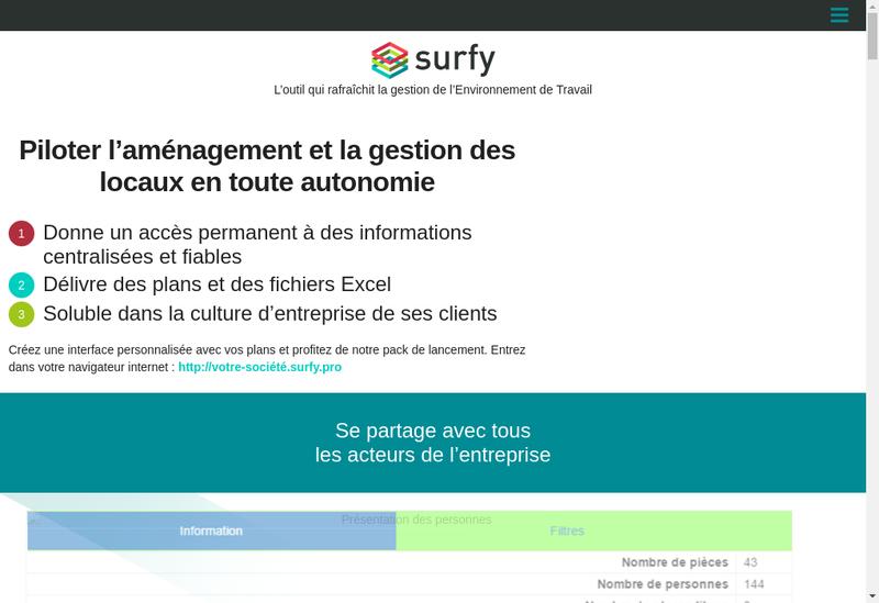 Capture d'écran du site de Surfy