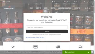 Capture d'écran du site de Sur les Quais