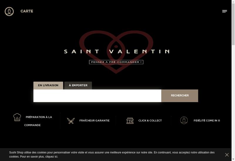 Capture d'écran du site de Sushi Shop Villiers