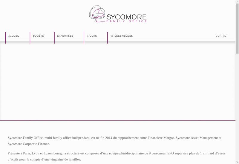 Capture d'écran du site de Sycomore Family Office