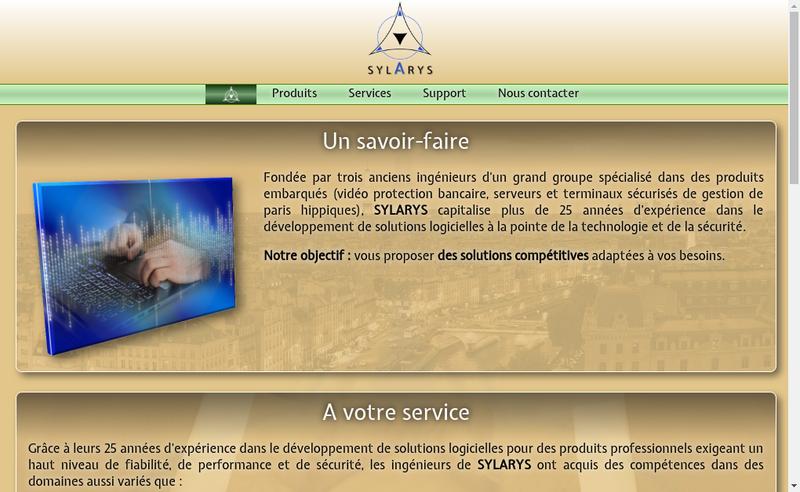 Capture d'écran du site de Sylarys