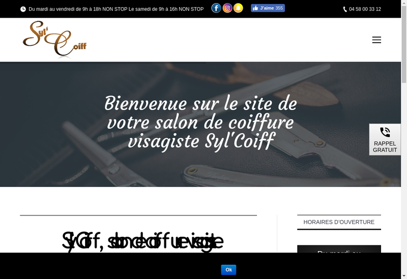 Capture d'écran du site de Syl Coiff
