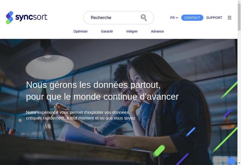 Capture d'écran du site de Syncsort SAS