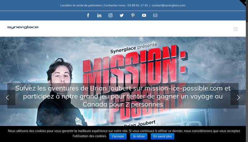 Capture d'écran du site de Synerglace