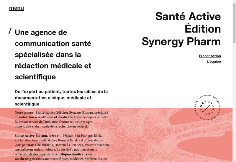 Capture d'écran du site de Synergy Pharm