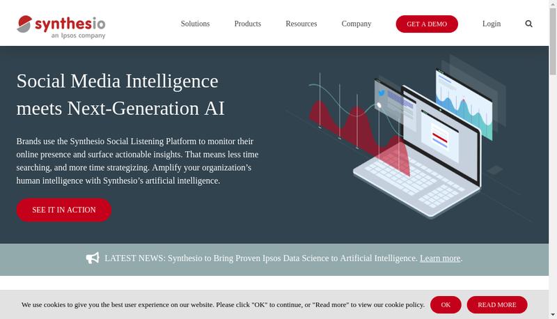Capture d'écran du site de Synthesio