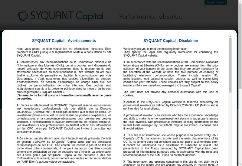 Capture d'écran du site de Syquant Capital