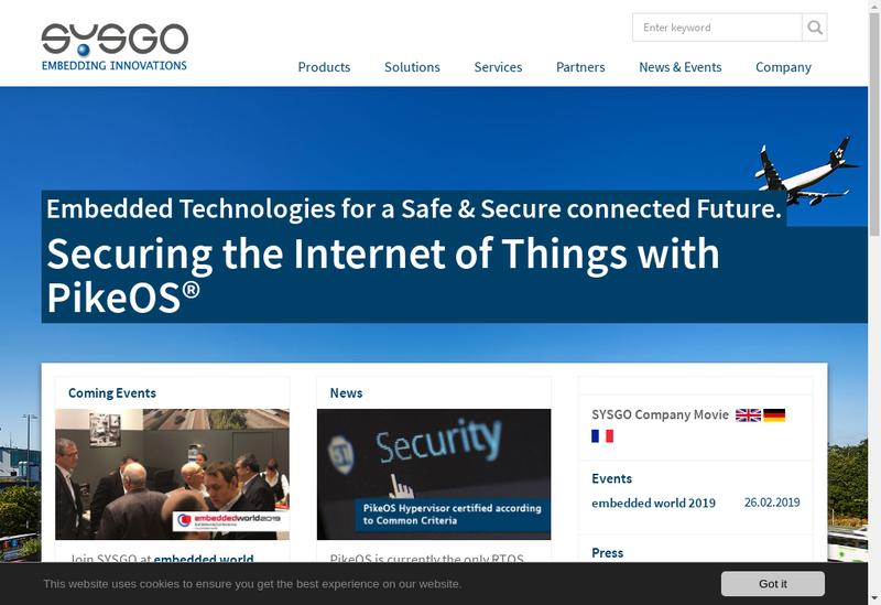 Capture d'écran du site de Sysgo