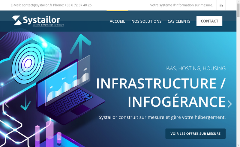 Capture d'écran du site de Systailor