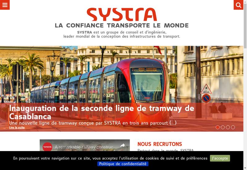 Capture d'écran du site de Systra