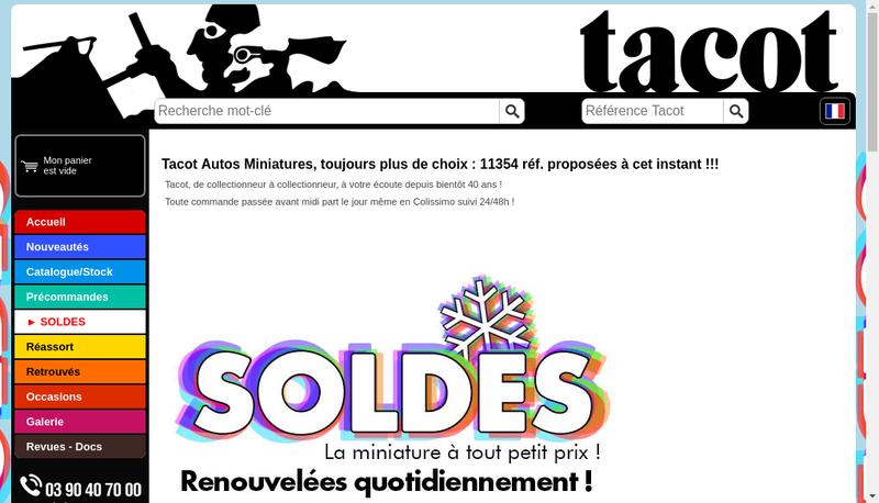 Capture d'écran du site de SARL Tacot