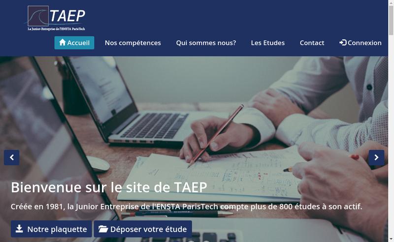 Capture d'écran du site de TAEP