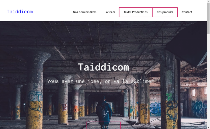 Capture d'écran du site de Taiddicom