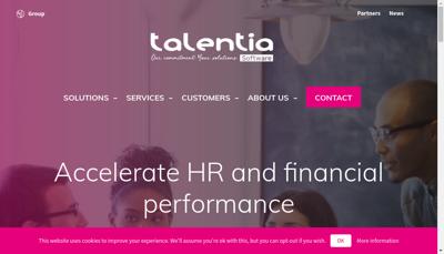 Capture d'écran du site de Talentia Software France