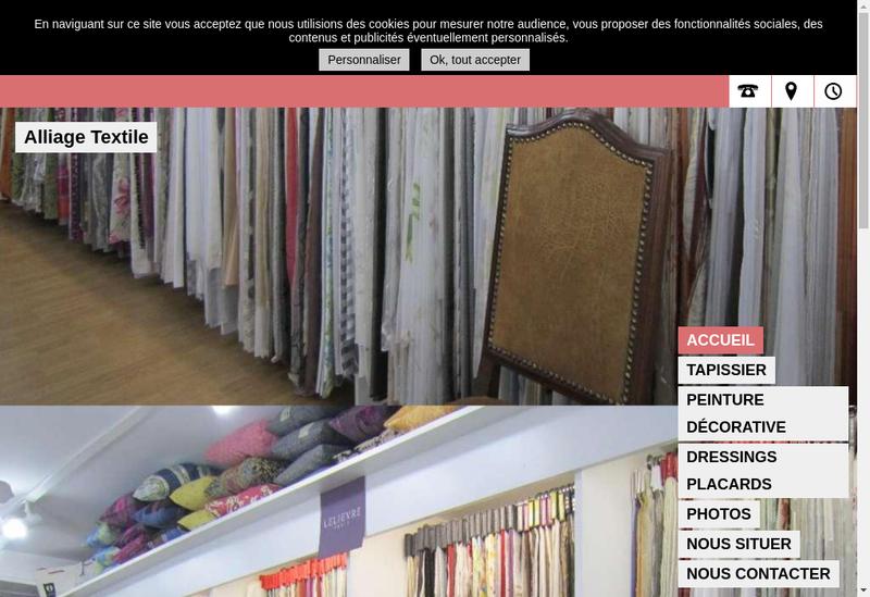 Capture d'écran du site de Alliage Textile