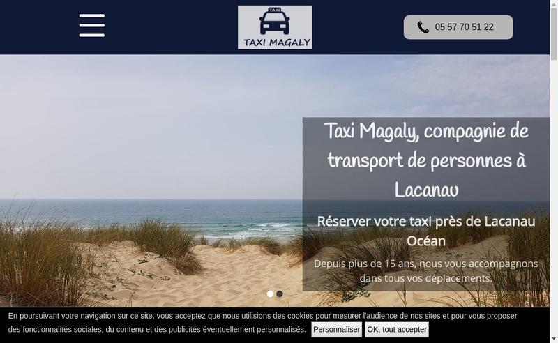 Capture d'écran du site de Taxi Magaly