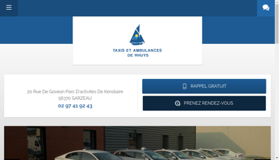 Capture d'écran du site de Rhuys Taxis Ambulances