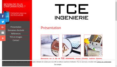 Capture d'écran du site de Tce Ingenierie
