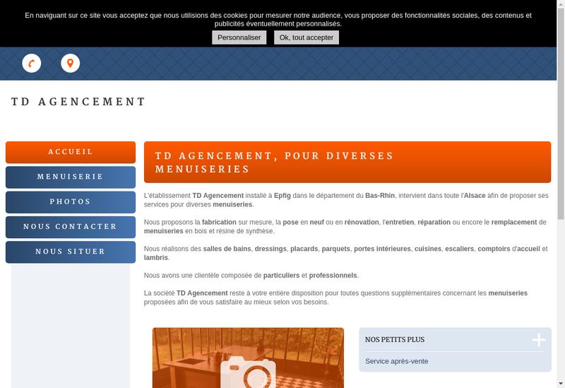 Capture d'écran du site de Td Agencement