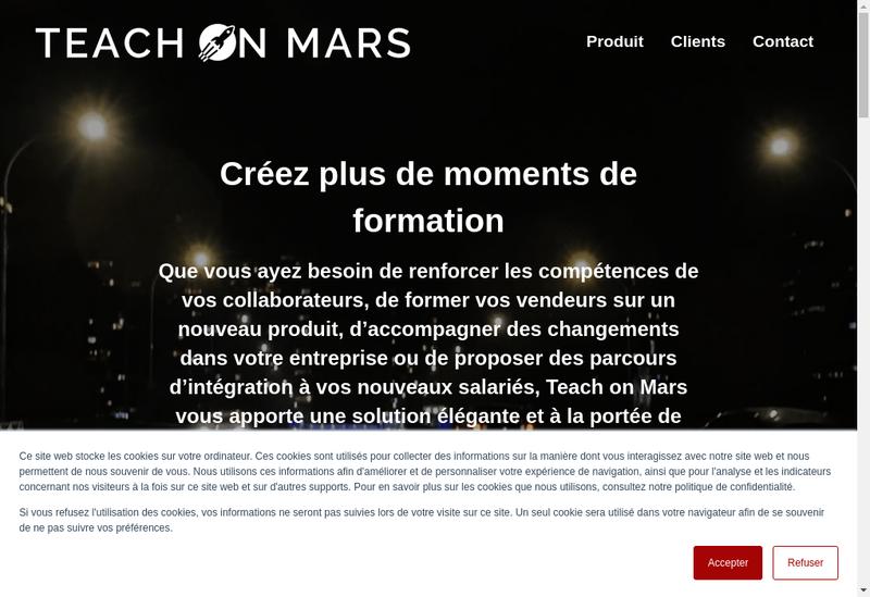 Capture d'écran du site de Teach On Mars