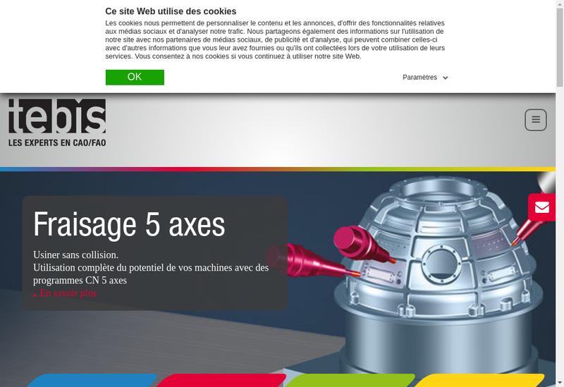 Capture d'écran du site de Tebis France SARL