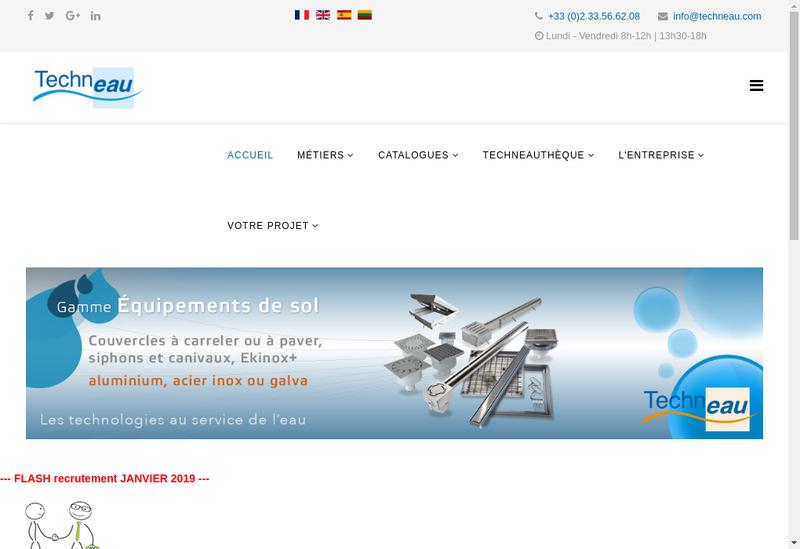 Capture d'écran du site de SA Techneau