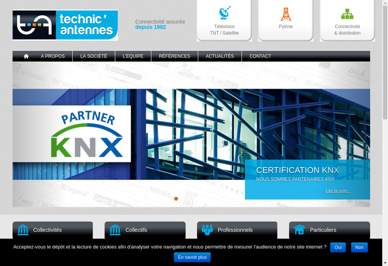 Capture d'écran du site de Technic Antennes