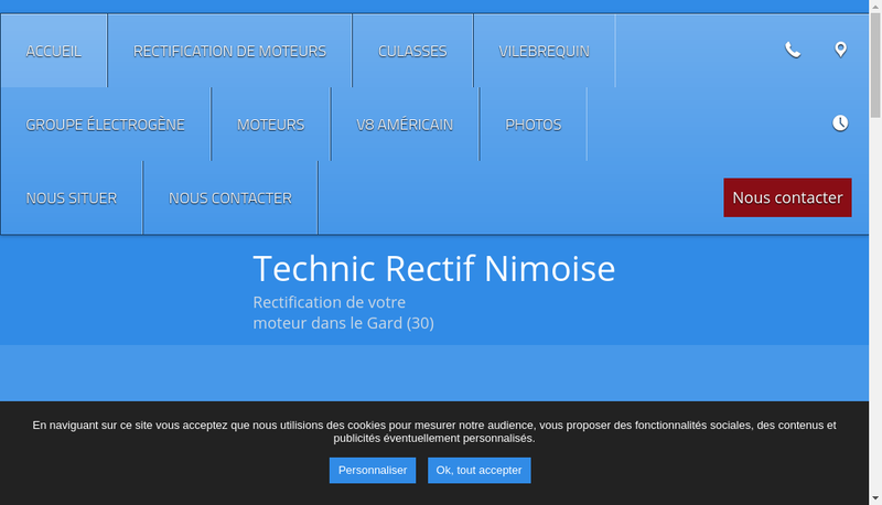 Capture d'écran du site de Technic Rectif Nimoise