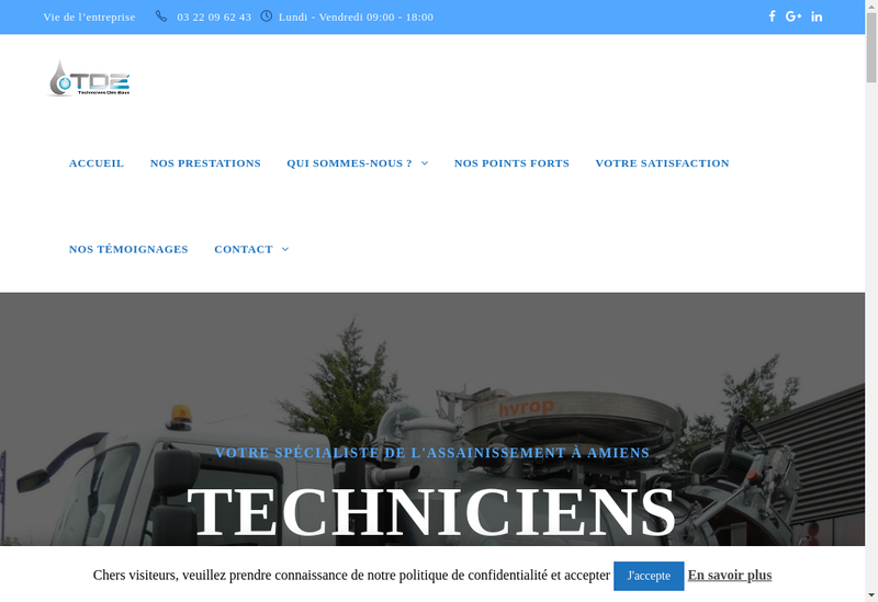 Capture d'écran du site de Techniciens des Eaux
