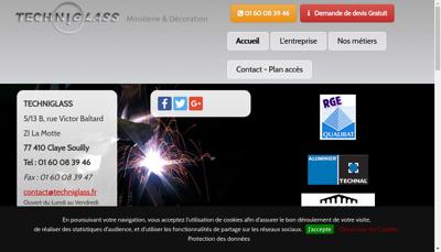 Capture d'écran du site de Techniglass