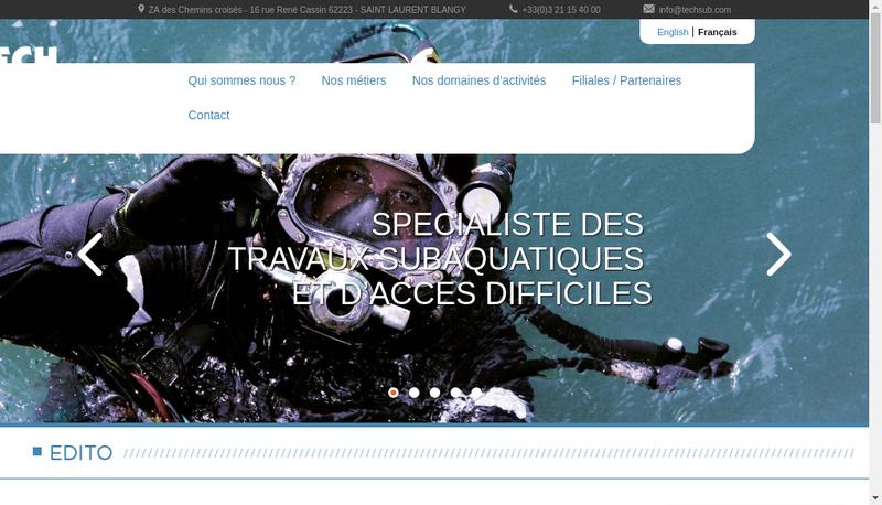 Capture d'écran du site de Tech Sub-Aquago-Phenics Technologie