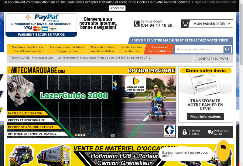 Capture d'écran du site de Tecmarquage