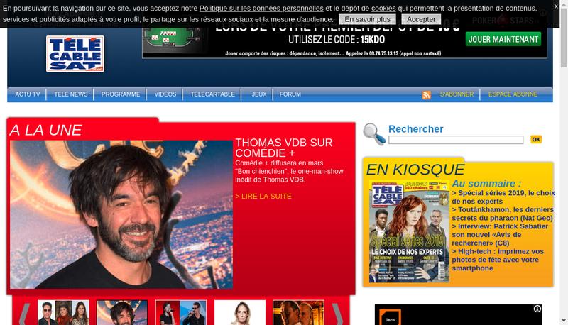 Capture d'écran du site de Tele Cable Satellite Hebdo